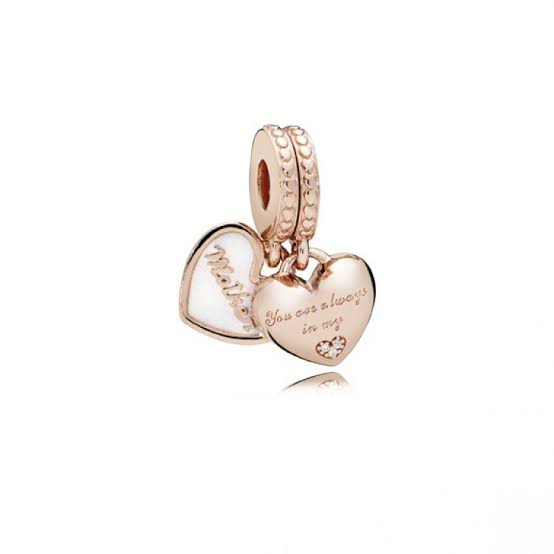 Rose Gold PLATED Mother and Daughter Hearts SET Pandora Compatible Dangle Charm