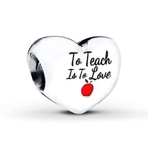 925 Sterling Silver To teach is to love Pandora Compatible Charm