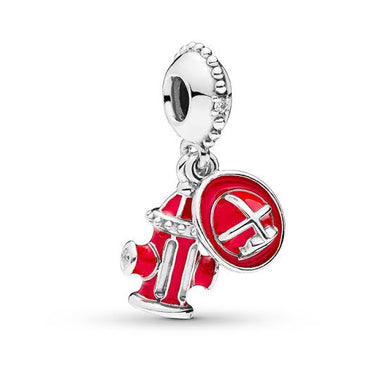 925 Sterling Silver Firefighter Red Hat and Hydrant Pandora Compatible Dangle Charm