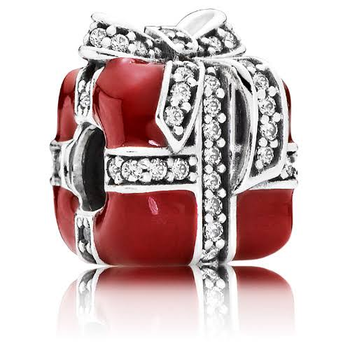 925 Sterling Silver Red Enamel Christmas Gift CZ Ribbon Pandora Compatible Bead Charm