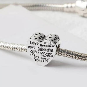 925 Sterling Silver You and Me Message Heart Pandora Compatible Charm