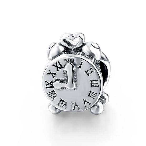 925 Sterling Silver Roman Figures Alarm Clock Pandora Compatible Bead Charm