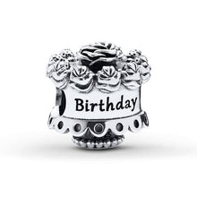 Load image into Gallery viewer, 925 Sterling Silver Happy Birthday Cake Pandora Compatible Bead Charm