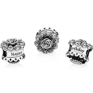 925 Sterling Silver Happy Birthday Cake Pandora Compatible Bead Charm