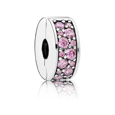 925 Sterling Silver Sparkling CZ Pink Pandora Compatible CLIP