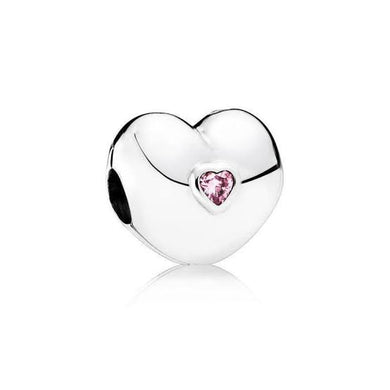 925 Sterling Silver Pink CZ Heart Shaped Pandora Compatible CLIP