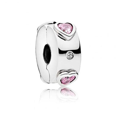 925 Sterling Silver Pink CZ Hearts Pandora Compatible CLIP
