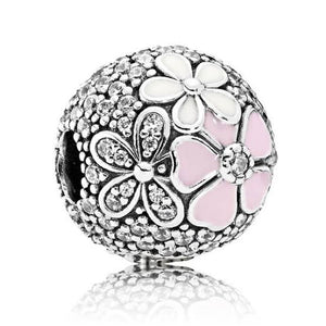 925 Sterling Silver CZ Daisy Ball Pink and White Enamel Pandora Compatible CLIP