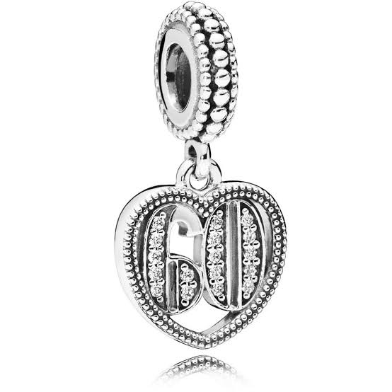 925 Sterling Silver 60 and Fabulous Pandora Compatible Dangle Charm