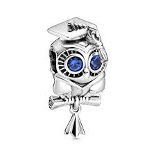 925 Sterling Silver Graduation OWL Blue Eyes Pandora Compatible Bead Charm