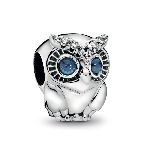 925 Sterling Silver OWL Blue Eyes Pandora Compatible Bead Charm