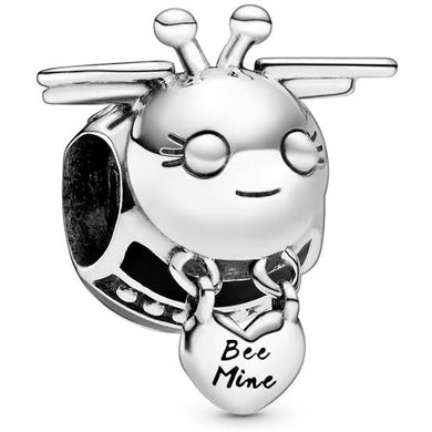 925 Sterling Silver Black and Silver Bee Pandora Compatible Bead Charm