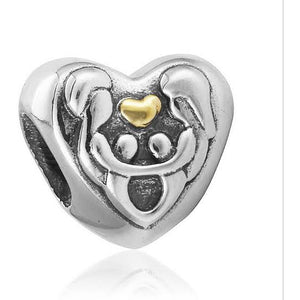 925 Sterling Silver Family Love Heart Pandora Compatible Bead Charm
