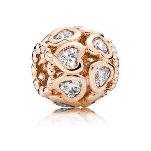 Rose Gold PLATED Openwork CZ Heart Pandora Compatible Bead Charm