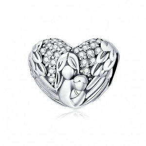 925 Sterling Silver CZ Angel Wings Motherly Love Heart Pandora Compatible Bead Charm