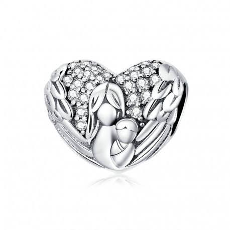 925 Sterling Silver Angel Wings Motherly Love Pandora Compatible Bead Charm