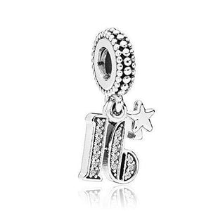 925 Sterling Silver 16 and Fabulous Pandora Compatible Dangle Charm
