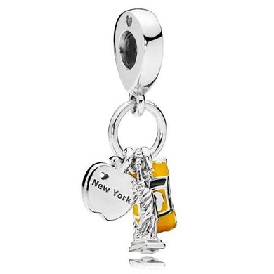 925 Sterling Silver New York Statue of Liberty Taxi Yellow Enamel Pandora Compatible Dangle Charm