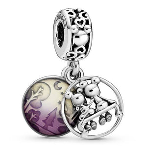 925 Sterling Silver Purple Mickey and Minnie Pandora Compatible Dangle Charm
