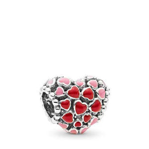 925 Sterling Silver Red Enamel Hearts Pandora Compatible Bead Charm