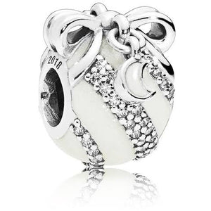 925 Sterling Silver White Enamel Christmas Gift Ball Pandora Compatible Bead Charm
