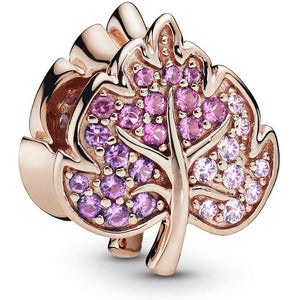 Rose Gold-Color Shades of Purple CZ Leaf Pandora Compatible Charm