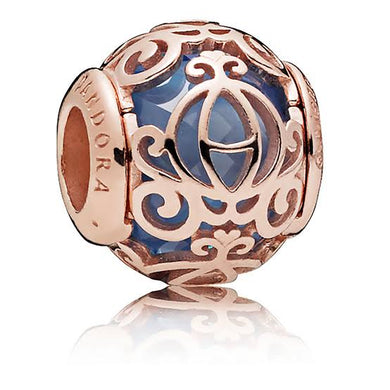 925 Sterling Silver Rose Gold-Color Pumpkin Carriage Pandora Compatible Charm