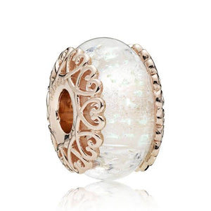 925 Sterling Silver Rose Gold-Color Clear Murano Pandora Compatible Charm