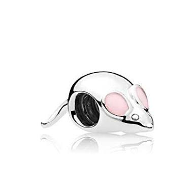 925 Sterling Silver Cute Mouse Pink Ears Pandora Compatible Bead Charm