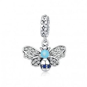 925 Sterling Silver Blue CZ Bee Pandora Compatible Dangle Charm