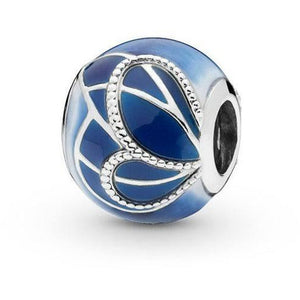 925 Sterling Silver Blue Enamel Butterfly Ball Pandora Compatible Bead Charm