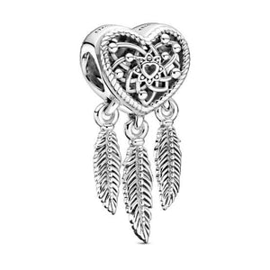 925 Sterling Silver Openwork Heart Dream Catcher Pandora Compatible Bead Charm