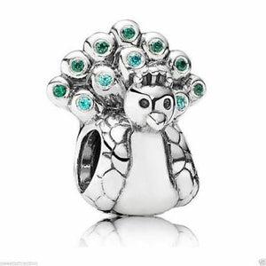 925 Sterling Silver Peacock Pandora Compatible Charm