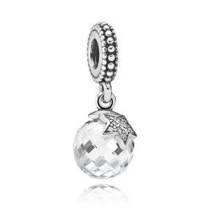 925 Sterling Silver Moon and Stars Crystal Pandora Compatible Dangle Charm