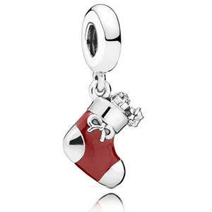 925 Sterling Silver Red Christmas Gift Sock Pandora Compatible Dangle Charm