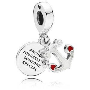 925 Sterling Silver Anchor yourself to Someone Special Pandora Compatible Dangle Charm