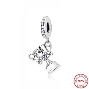 925 Sterling Silver WELL DON Trophy Winning Cup Pandora Compatible Dangle Charm