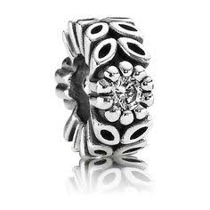 925 Sterling Silver CZ Leave Pandora Compatible Spacer