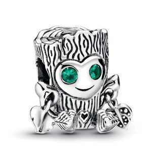 "925 Sterling Silver ""Groot"" Tree Stump Pandora Compatible Bead Charm"
