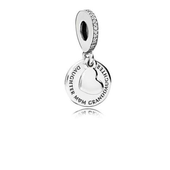 925 Sterling Silver Daughter, Mom, Granddaughter Pandora Compatible Dangle Charm