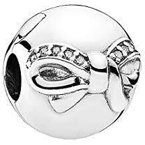 925 Sterling Silver CZ Bow Ball Pandora Compatible CLIP