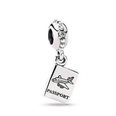 925 Sterling Silver Passport Airplane Pandora Compatible Charm
