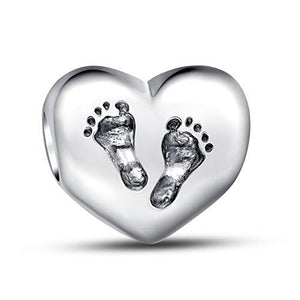 925 Sterling Silver Baby Footprints Heart Pandora Compatible Charm