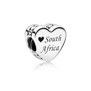 925 Sterling Silver Love South Africa Heart Pandora Compatible Bead Charm