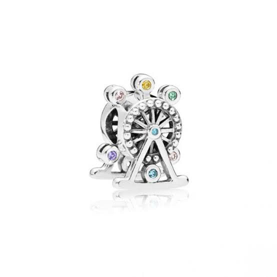925 Sterling Silver Colourful FERRIS WHEEL Pandora Compatible Bead Charm