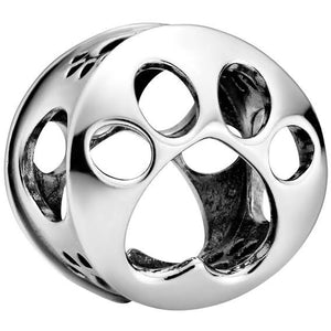 925 Sterling Silver Paw Print Openwork Pandora Compatible Bead Charm