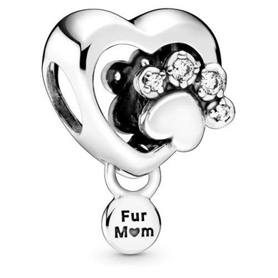 925 Sterling Silver Fur Mom Paw Print Heart Pandora Compatible Bead Charm