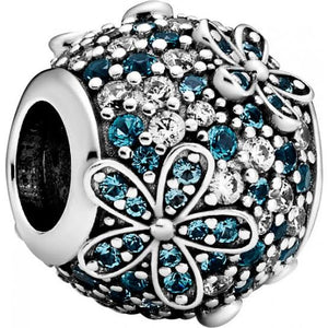 925 Sterling Silver Blue CZ Daisy Pandora Compatible Bead Charm