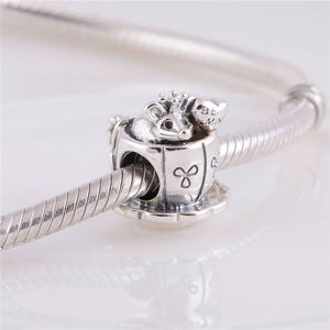 925 Sterling Silver Be Mine Mouse in a Teacup Pandora Compatible Bead Charm