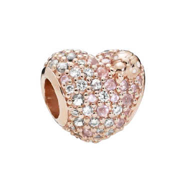 Rose Gold-Color White and Pink CZ Pandora Compatible Charm